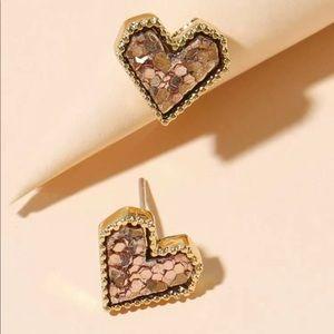 Light Pink Heart Shaped Stud Earrings